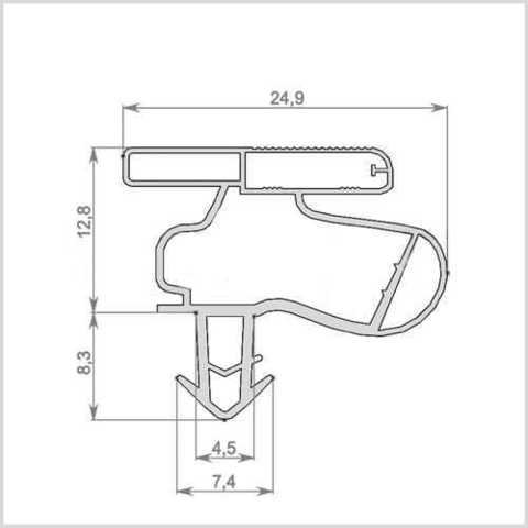 Уплотнитель для холодильника BOSCH KGS39XW20R/01 м.к. 700*580 мм (036 АНАЛОГ)