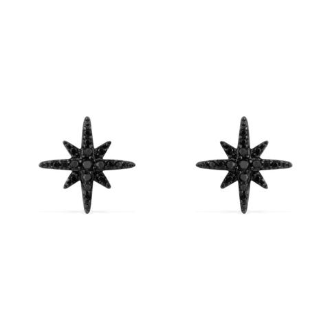 AE8419BZR - Серьги пусеты Meteorites из черного серебра с цирконами
