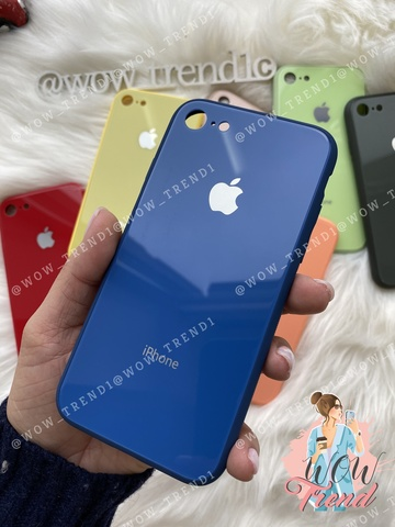 Чехол iPhone 7/8 Glass Pastel color Logo /blue/
