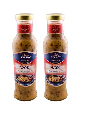 Соус для лапши Wok ВОК Sen Soy Premium в стеклянной бутылке 2 шт по 310 гр 1кор*1бл*2шт