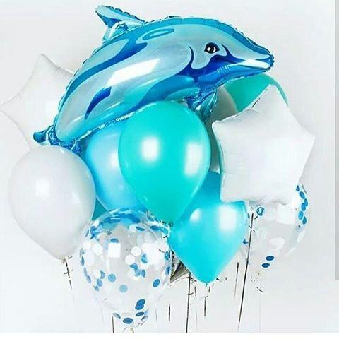 Сет шаров с дельфином в бирюзово-белой гамме