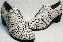 Модные туфли босоножки закрытый носок и пятка женские Arella 426-33 White.