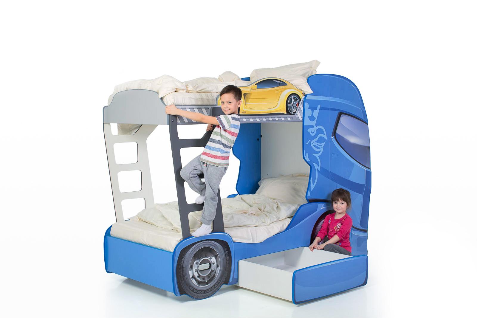 """Двухъярусная кровать машина """"Скания+2"""" синий"""