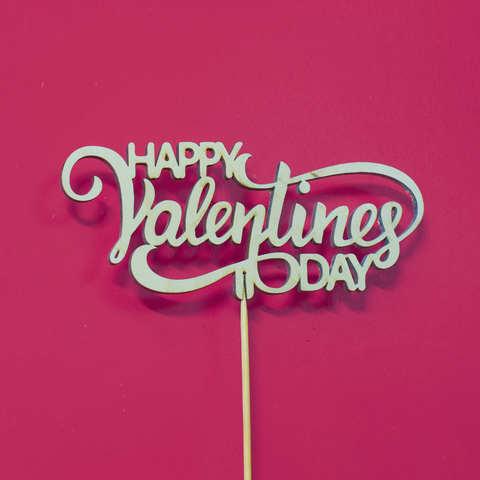 Топпер ДекорКоми из дерева, надпись на палочке HAPPY Valentines DAY
