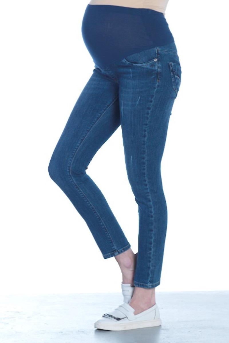 Фото джинсы для беременных EBRU, зауженные, укороченные, трикотажная вставка от магазина СкороМама, синий, размеры.