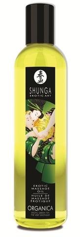 Массажное масло Shunga Organica с ароматом зеленого чая - 250 мл.