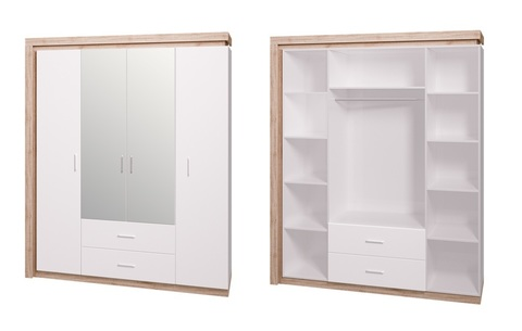 Шкаф четырехдверный с зеркалом Люмен 16 Ижмебель дуб сакраменто/белый снег глянец