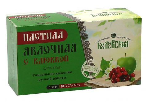 Пастила Белёвская яблочная с клюквой без сахара, 100 г