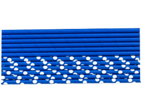 Трубочка д/кокт бум Горошек синяя 12штG
