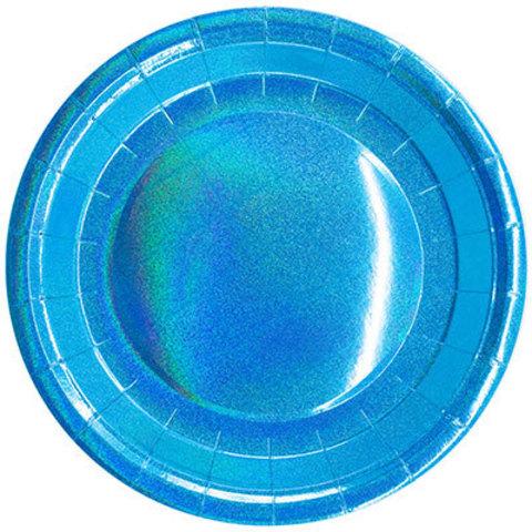 Тарелки голографические голубые, 6 шт