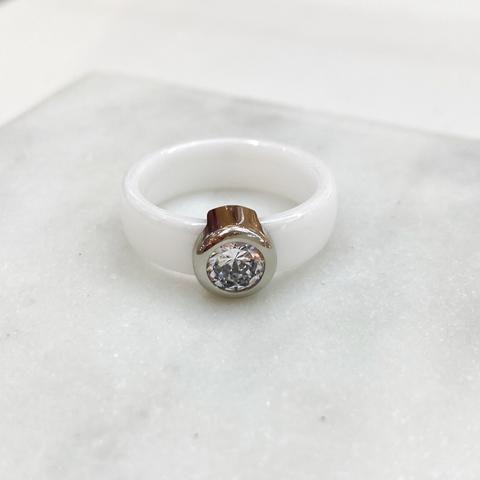 Кольцо Керамика с вставкой-цирконом белый (сталь)