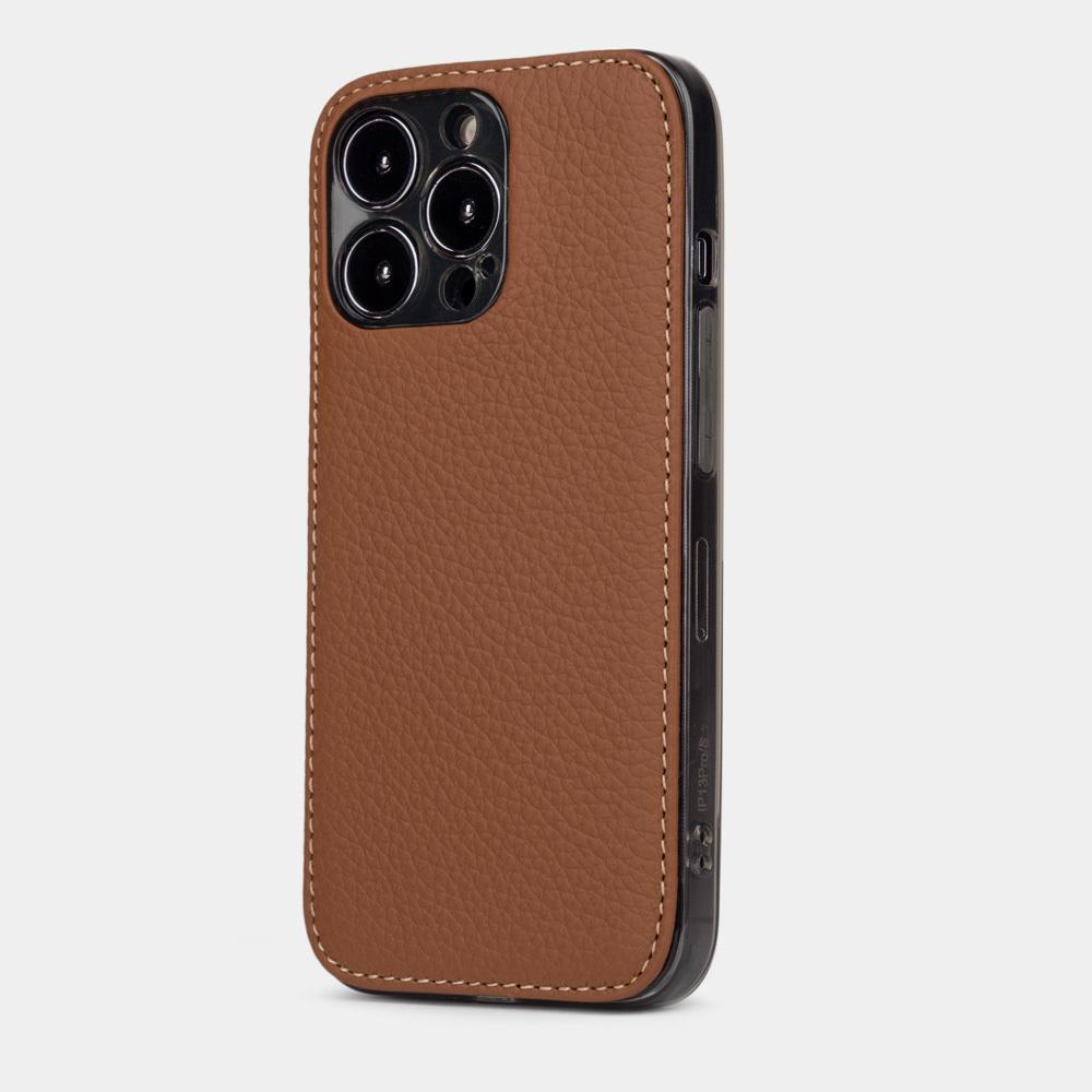 Чехол-накладка для iPhone 13 Pro из натуральной кожи теленка, цвета карамель
