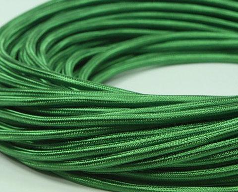 Круглый ретро провод (Зеленый шелк)