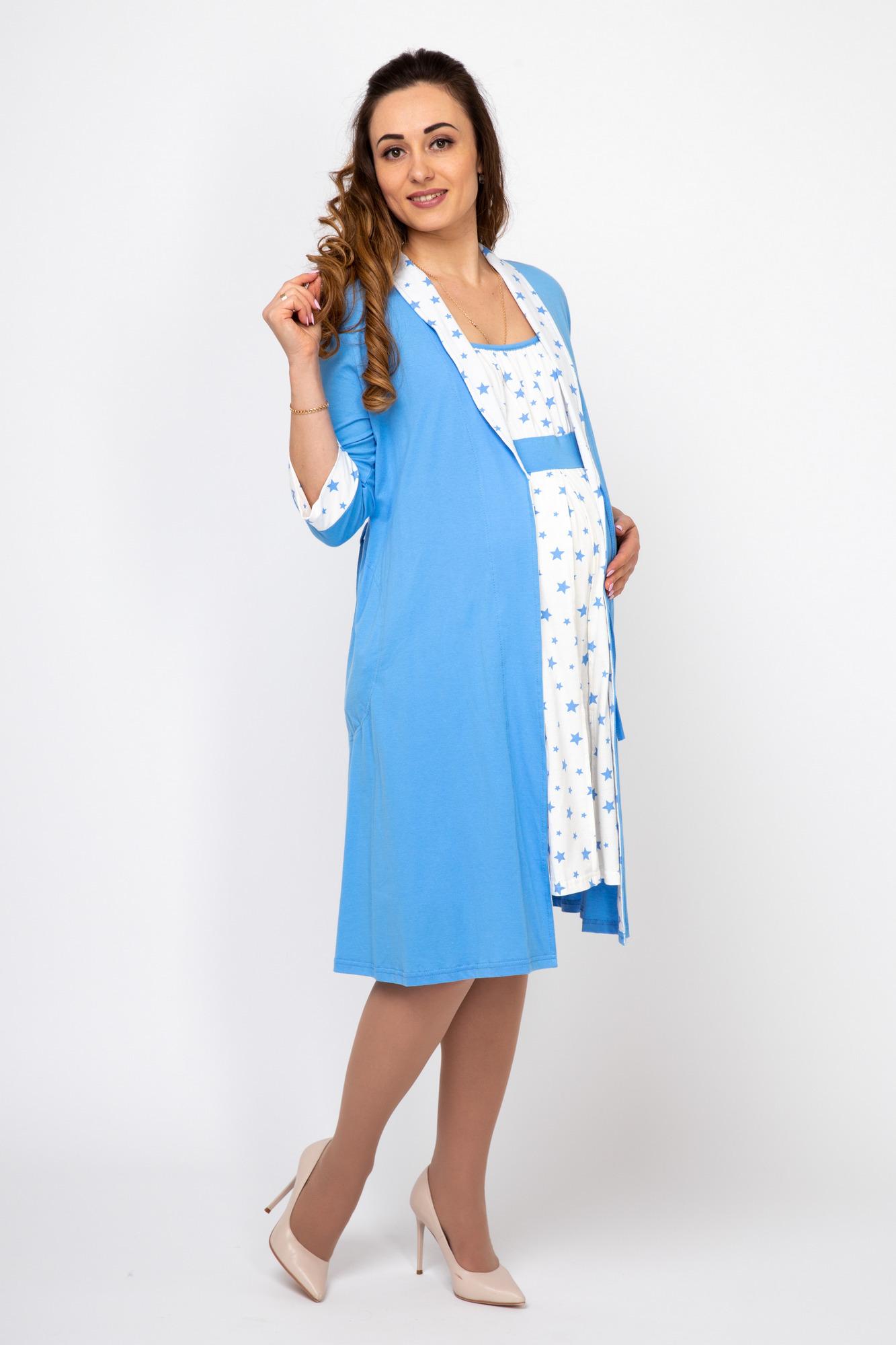 Комплект для беременных и кормящих с халатом и сорочкой 08210 голубой