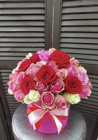 45 роз в шляпной коробке #2003