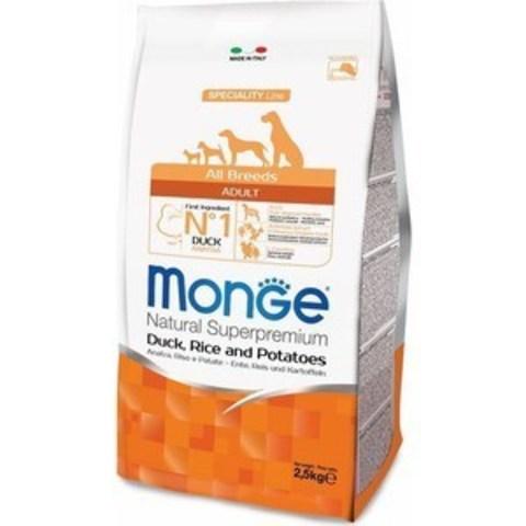 Monge Dog Speciality корм для собак всех пород (утка с рисом и картофелем) 2,5кг