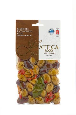 Оливки Микс с апельсином Attica Food 250 гр