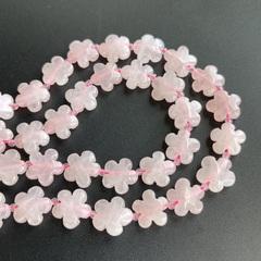 Бусина розовый кварц цветочек 15 мм