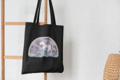 Сумка-шоппер с принтом Единорог (Unicorn) черная 002