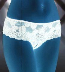 Кружевные трусики-шорты с разрезом белые