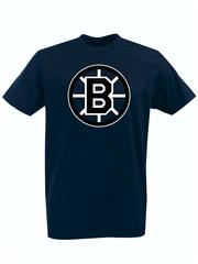 Футболка с принтом НХЛ Бостон Брюинз (NHL Boston Bruins) темно-синяя 006