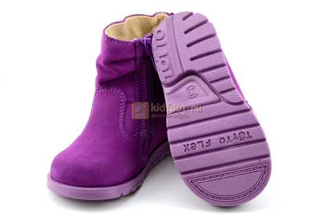 Полусапожки демисезонные Тотто из натуральной кожи на байке для девочек, цвет фиолетовый. Изображение 8 из 13.