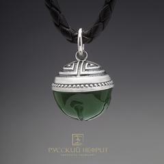 "Кулон ""Пуговка"". Зелёный нефрит (класс модэ), серебро 925 (6,5г.)."
