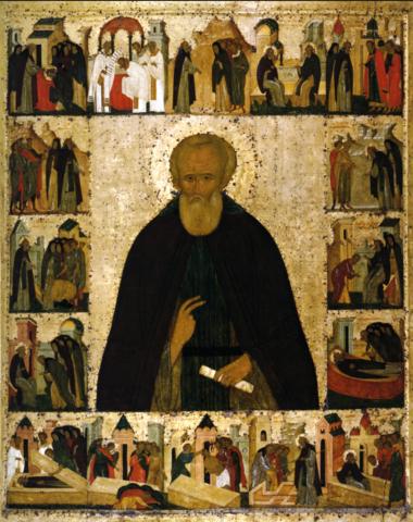 Икона святой Дмитрий Прилуцкий с житием на дереве на левкасе мастерская Иконный Дом