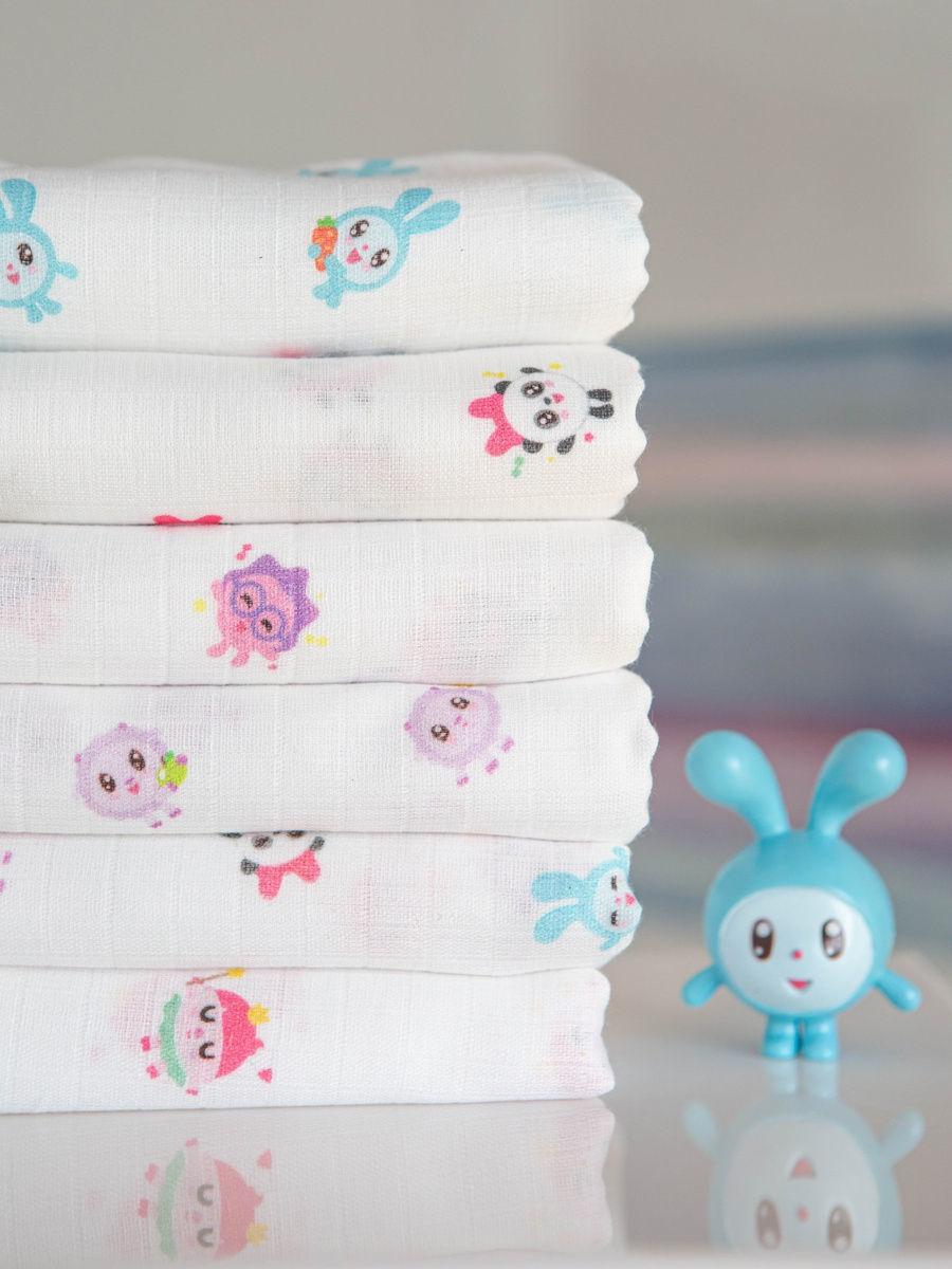 Муслиновое одеяло для новорожденных и детей Adam Stork лимитированной коллекции с малышариками