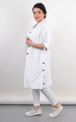 Челсі. Кардиган-сорочка на літо жіночий plus size. Білий.