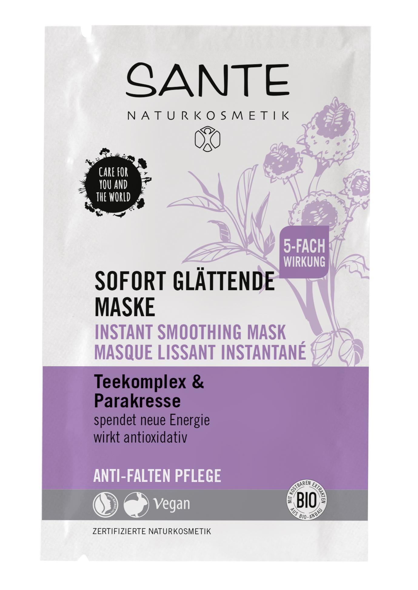 SANTE Anti-age интенсивно разглаживающая маска для лица с чайным комплексом и с Био-экстрактом Акмеллы