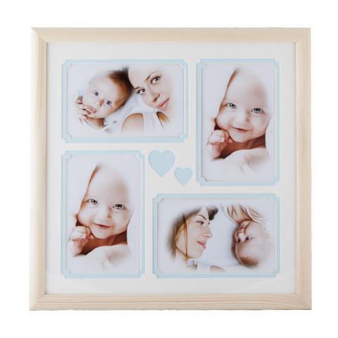 Фоторамка 30x30 c детским паспарту 4 фото 10x15 голубой
