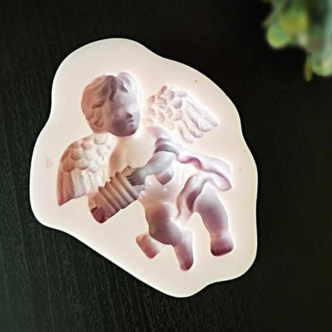 Молд силиконовый  Ангел с гормошкой