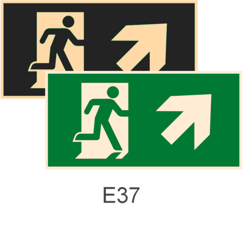 фотолюминесцентные знаки Е37 Направление к эвакуационному выходу направо вверх