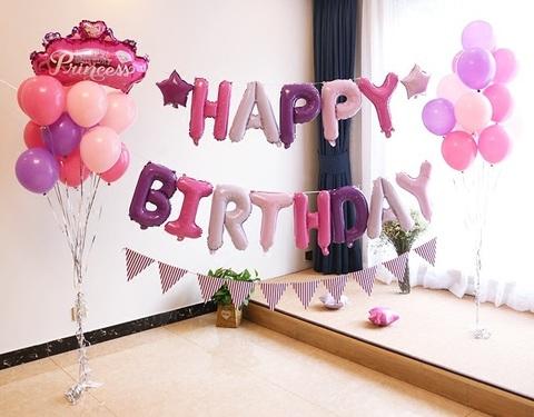 Фольгированная надпись Happy Birthday для девочки