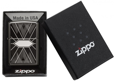 Зажигалка Zippo Classic с покрытием Black Ice, латунь/сталь, чёрная, глянцевая123