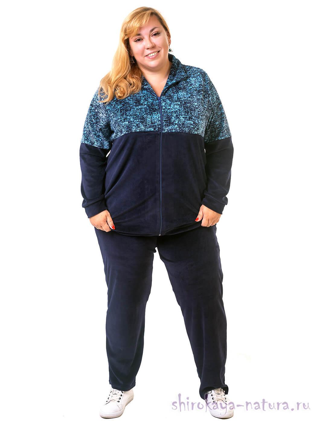Велюровый женский спортивный костюм очень большой размер