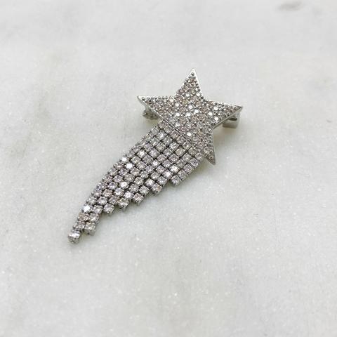 Брошь Циркон Звезда с бахромой серебряный