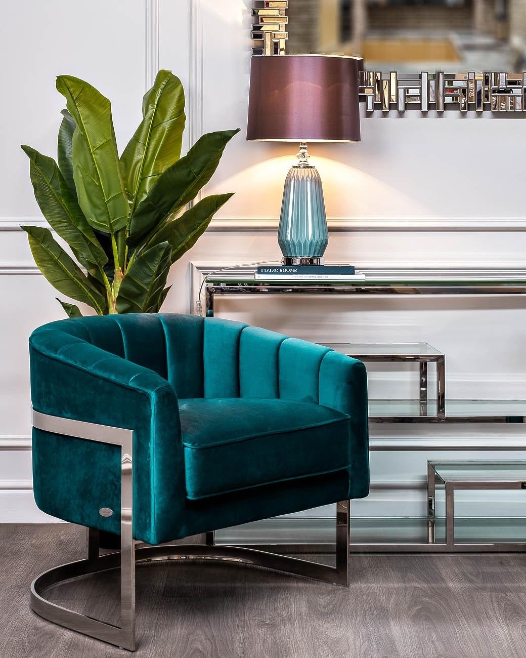 Кресло на металлическом каркасе сине-зеленое (ZW-777 GRN SS) Garda Decor