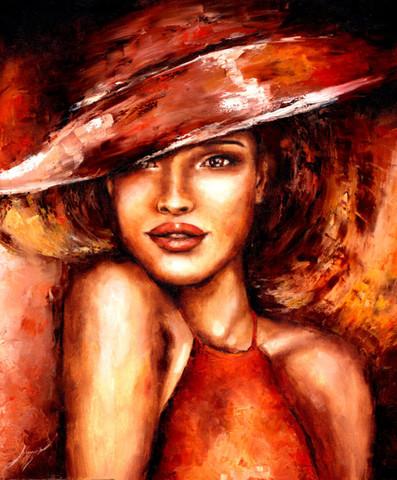 Алмазная Мозаика 40x50 Девушка в коричневой шляпе (арт. GL73627)