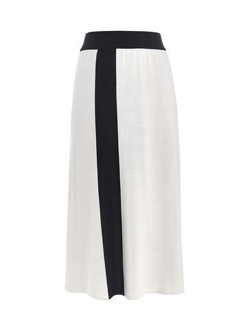 Женская юбка молочного цвета с контрастной полосой из шелка и вискозы - фото 1
