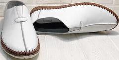 Мужские летние мокасины туфли кожаные sport casual Luciano Bellini 91724-S-304 All White.