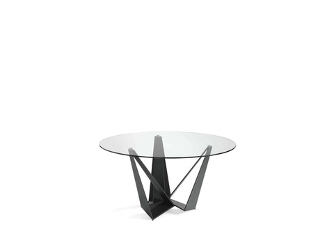 Стеклянный круглый стол c черными ножками CT2061 Ø150