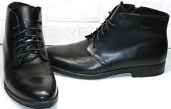 Кожаные зимние ботинки мужские модные Ikoc 3640-1 Black Leather.