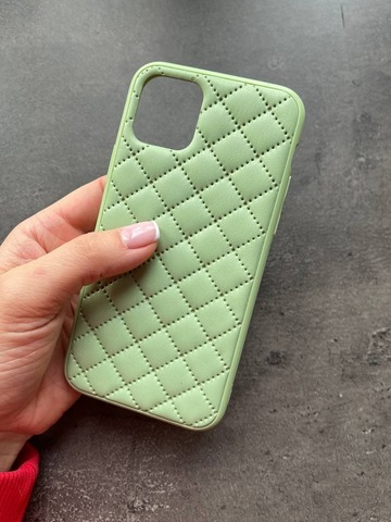 Чехол iPhone 12 Pro /6,1''/ Quilted Leather case /mint/