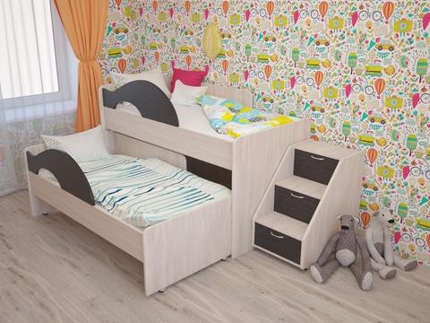 Двухъярусная выкатная кровать Радуга