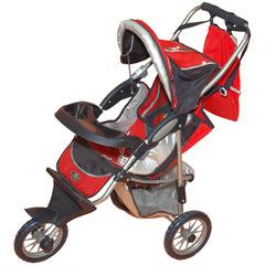 Gulliver Коляска трехколесная  с рюкзачком и козырьком для куклы (красная с яблочком) со светящимся логотипом (320)