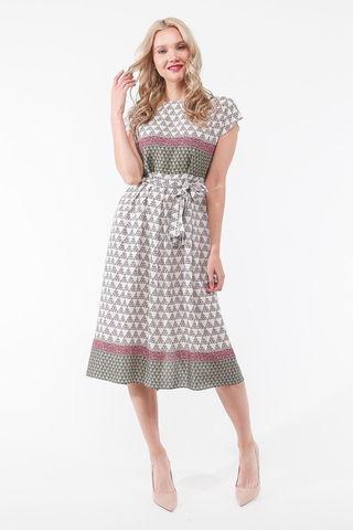 Фото белое летнее платье с геометрическим принтом с застежкой на спинке на пуговицы - Платье З440-536 (1)
