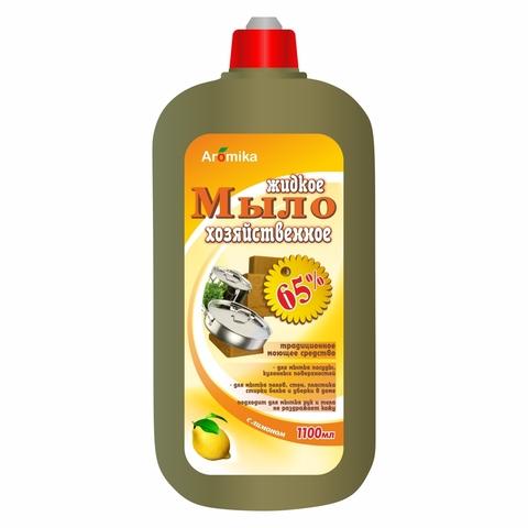 Мыло хозяйственное жидкое АРОМИКА Лимон 65% 1100 мл КАЗАХСТАН