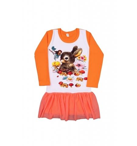 Платье с зайчиком детское трикотажное